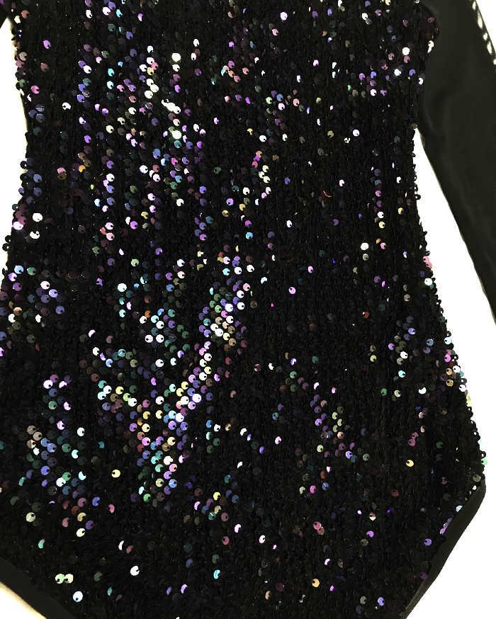 Sexy Stadium Kostuum Vrouwen Singer Jumpsuit Black Sequin Bodysuit Nachtclub Pole Dansvoorstelling Kleding Vrouw Dancewear Outfits