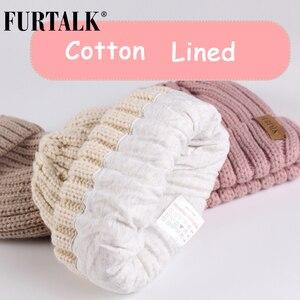 Image 4 - FURTALK Kids Leeftijden 1 10 Winter Baby Echt Bont Pompom Hoed Sjaal Set Knit Beanie Hoeden en Sjaals voor kind
