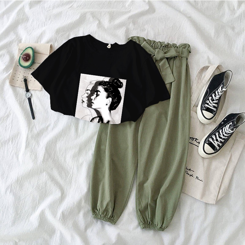 7 Colors Printed Girl Tshirt Tops And Pants Two Piece Set Women Fashion Outfits Casual 2 Piece Suit Korean Clothing Summer 2020