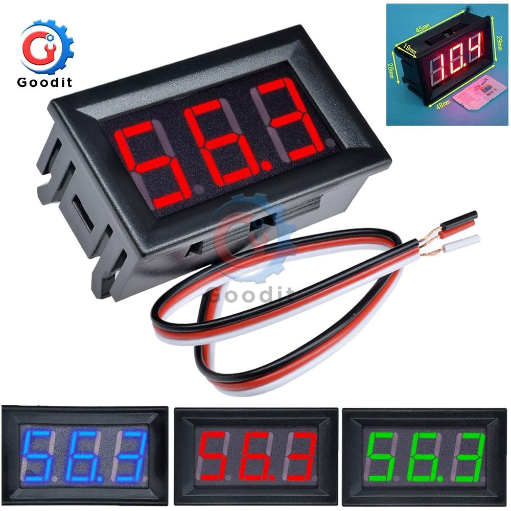 Мини светодиодный цифровой вольтметр постоянного тока 0-100 в, датчик напряжения, вольт, Fahrzeuge, панельный измеритель, красный/синий/зеленый, 12 ...