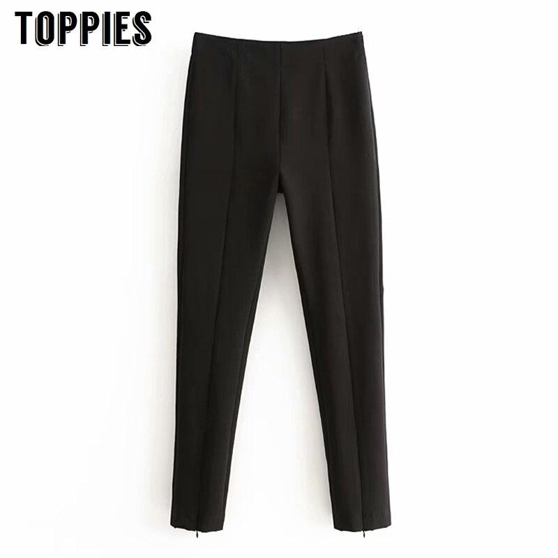 2020 Spring Black Pencil Pants High Waist Trousers For Women Office Lady Leisure Suit Pants Streetwear
