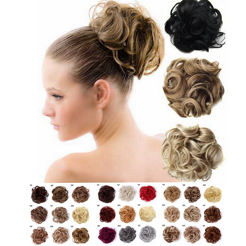 CLOTHOBEAUTY 1 Pcs Synthetic Hair Rope Elastic Band Updo Messy Hair Bun Extensions Wavy Curly Hair Donut Chignon Fake Ponytail