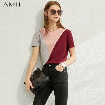 Amii Minimalisme Lente Zomer Katoen Spliced Vrouwen Tshirt Fashion Causale Oneck Korte Mouwen Zachte Losse Vrouwelijke T-shirt 12070137