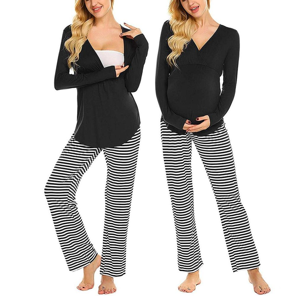 2019 Winter Long Sleeve Pajamas Women Maternity Nursing Baby T-shirt Top+Striped Pants Comfortable Pajamas Set Breastfeeding