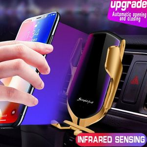 Image 2 - Automatic Clamping Wireless Car Charger Mount Infrared Sensor QI Induction Charging Holder For iPhone X XS Max Samsung xiaomi 9
