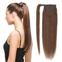 ALI-BEAUTY, человеческие волосы, конский хвост, русский аппарат, Реми, прямой конский парик, 60 г до 120 г, обертывание вокруг зажима, конский хвост, 12-26 дюймов