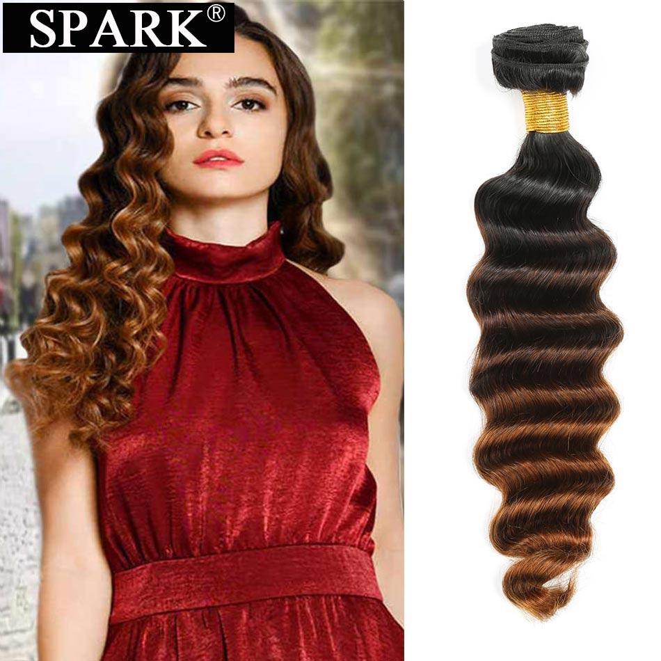 Faísca brasileira solta onda profunda pacotes de cabelo negócio t1b/4/30 ombre tecer cabelo 100% remy extensão do cabelo humano pode comprar 3/4 pacotes