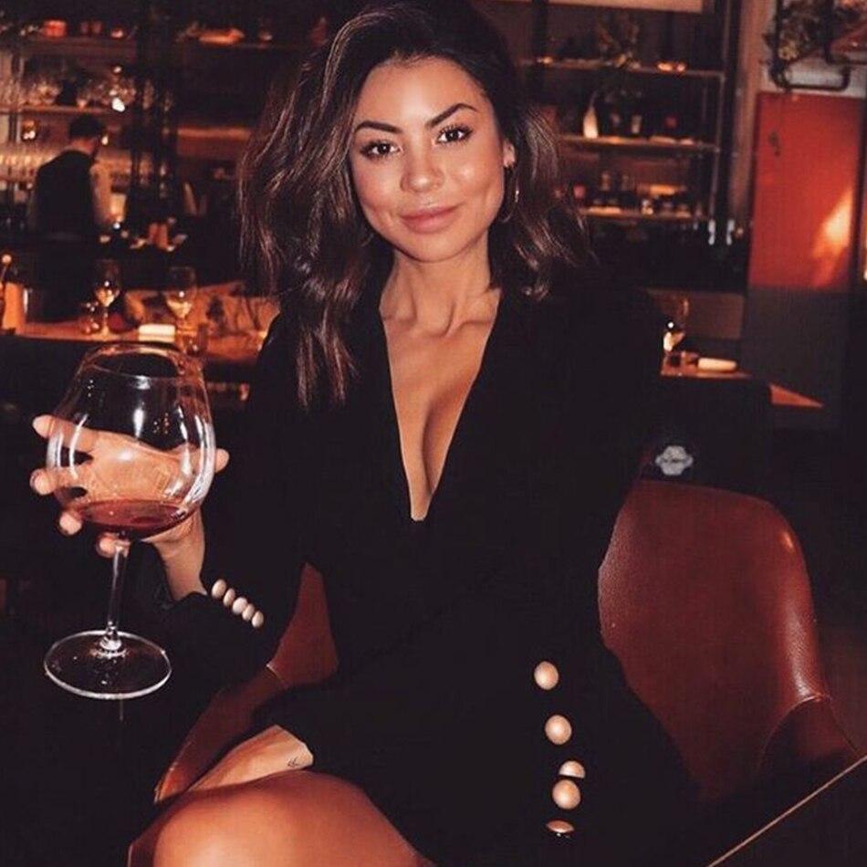 Adyce 2019 New Autumn Women Slim Black Coat V-Neck Single Breasted Long Sleeve Long Style Button Fashion Women Out Wear Coat