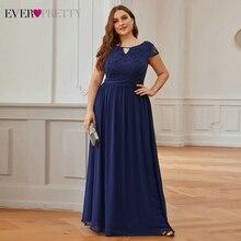 Evening-Dresses Ever Pretty Navy-Blue Short-Sleeve Lace A-Line Party Floral Vintage Plus-Size