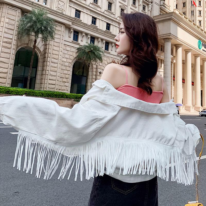 Women Denim Tassel Jackets Short Fashion Tops Female Casual Long Sleeve Button Outwear Coats White Top Jean Jacket Woman Bomber