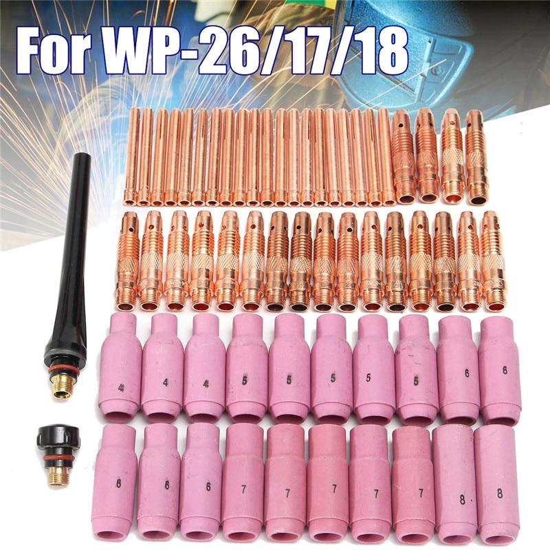 WP 18 Welding Ceramic 26 For 62Pcs Pyrex Welding TIG Nozzle Machine Kit 17 Torch Copper Cup