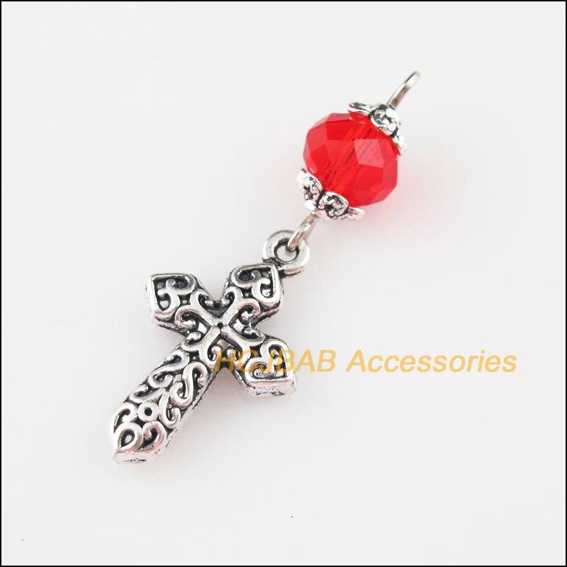 25Pcs Tibetan Silver Clover Flower Spacer Frame Beads Charms 22mm
