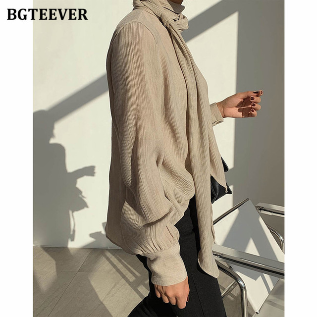 Winter O-neck Solid Blouse  4
