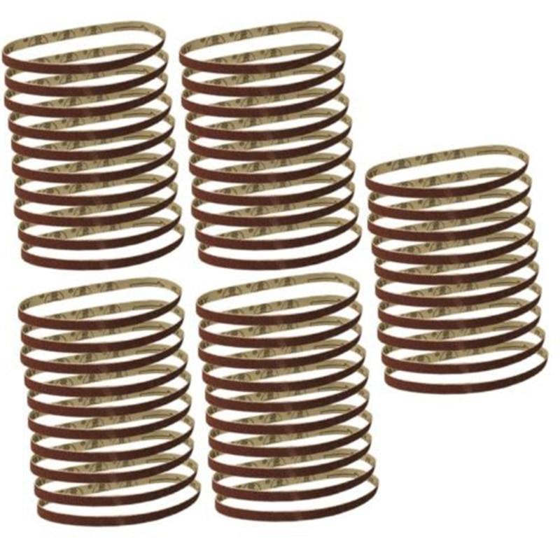 50 Pack 3/8x13 Belt Sander Sandpaper 10*330mm Sanding Belts Abrasive Aluminium