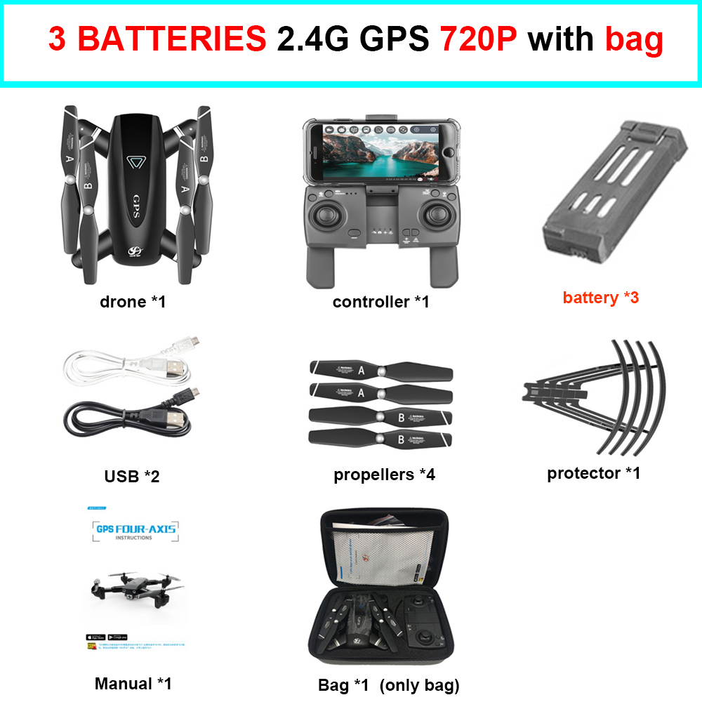 RC Drone GPS with Camera HD 4K 1080P Wide Angle 5G WIFI FPV Auto Follow Altitude Hold Quadcopter Dron RC Professional