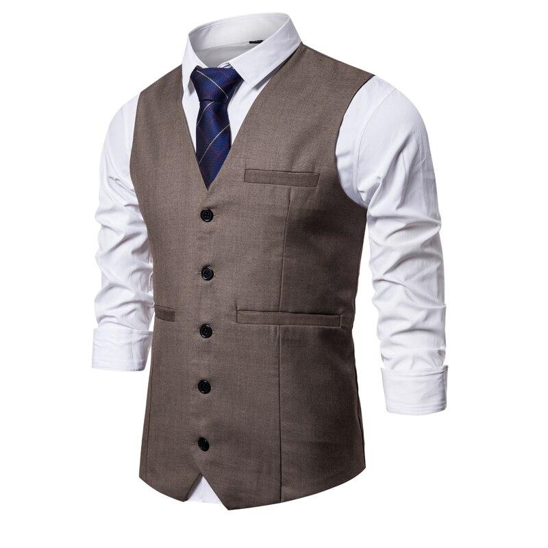 Men Suit Vests Gentlemen Casual Business Sleeveless Waistcoat Vintage Formal Blazers Vest For Wedding Single Buttons Vests