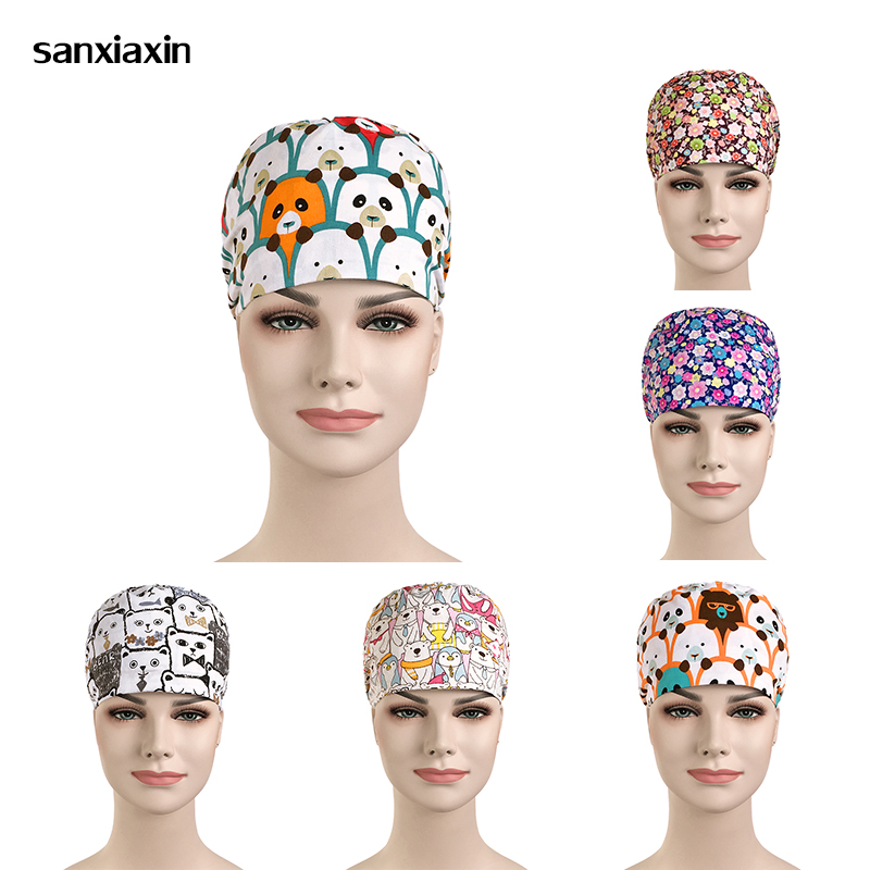 Viaoli 100% Cotton Scrub Caps For Women And Men Hospital Medical Hats Print Cat In Black Tieback Elastic Section Surgical Caps