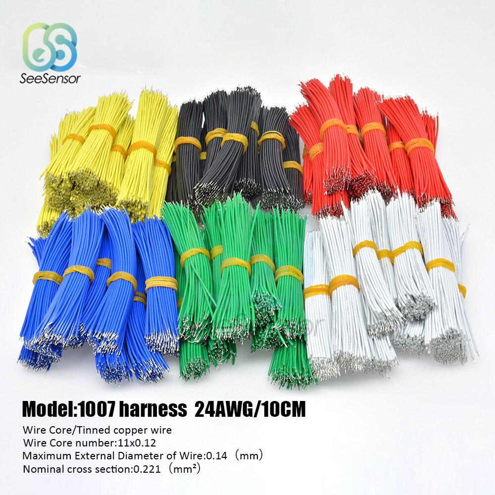 100 шт./лот 24AWG 10 см Оловянная макетная плата PCB припой кабель Fly Jumper провод оловянные Проводные провода 1007-24AWG соединительный провод