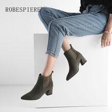ROBESPIERE Winter Pop European Style Ankle Boots Women Fashion Pointed High Heel Office Lady Shoes Woman Elastic Band B46