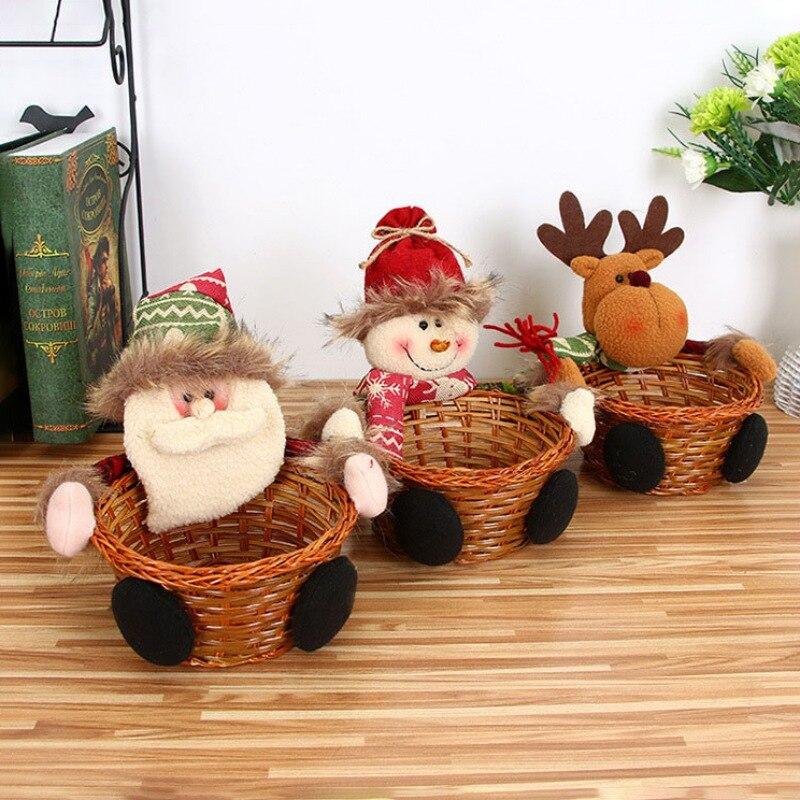 Christmas Candy Cookie Storage Basket Decoration Santa Claus Storage Basket New