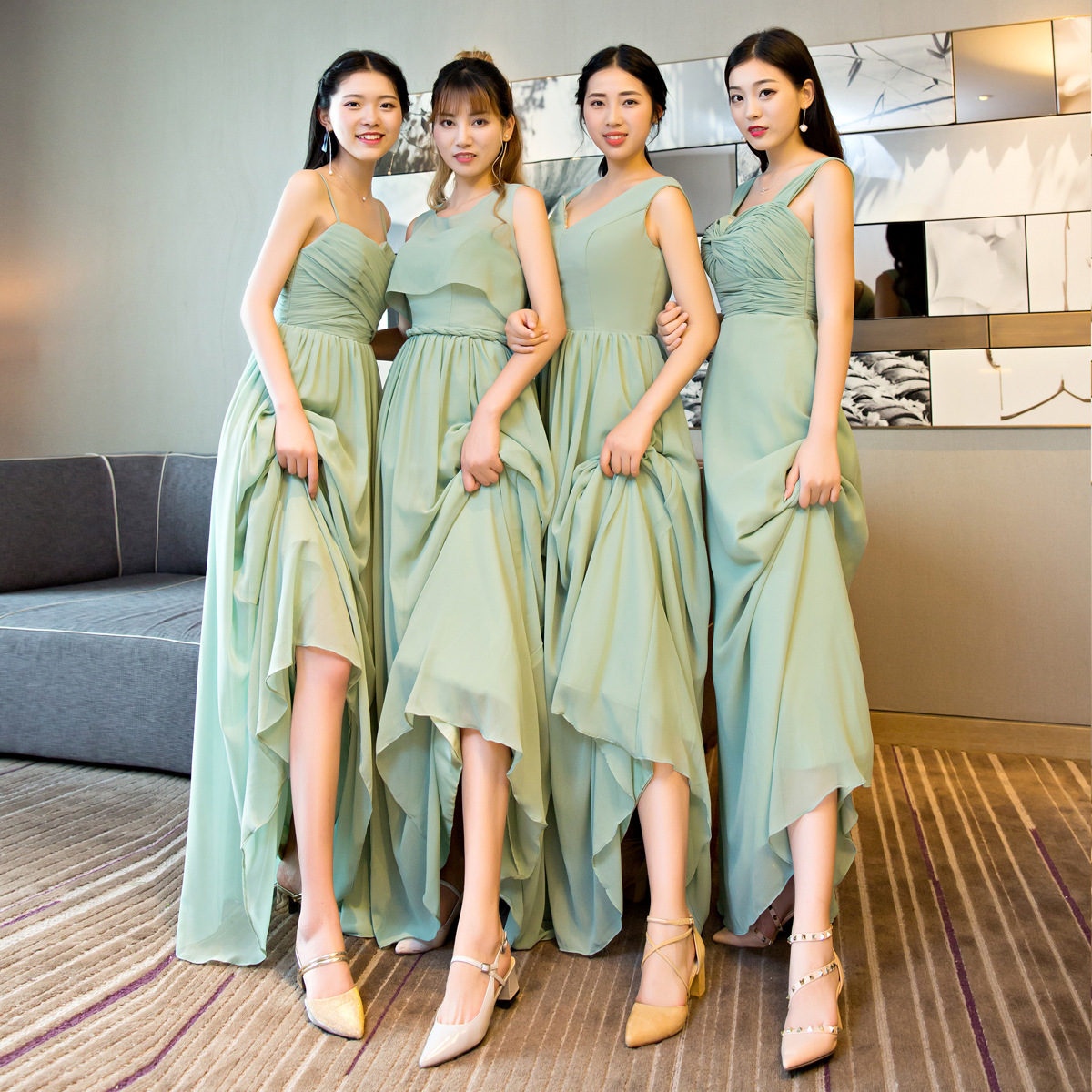 Light Green Elegant Dress Women For Wedding Party Long Bridesmaid Dresses Plus Size Chiffon Custom Made Bridesmaids Dresses 2020