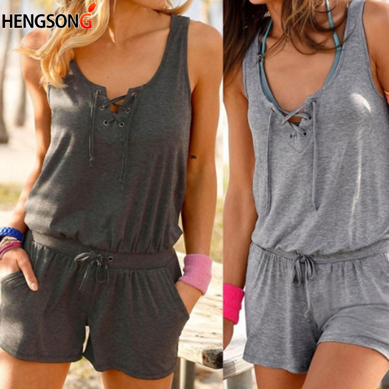 Summer Tracksuit For Women's Rompers 2018 New Sleeveless Workout Gym Exercise Fitness Rompers Women Overalls Lace-up Sportswear