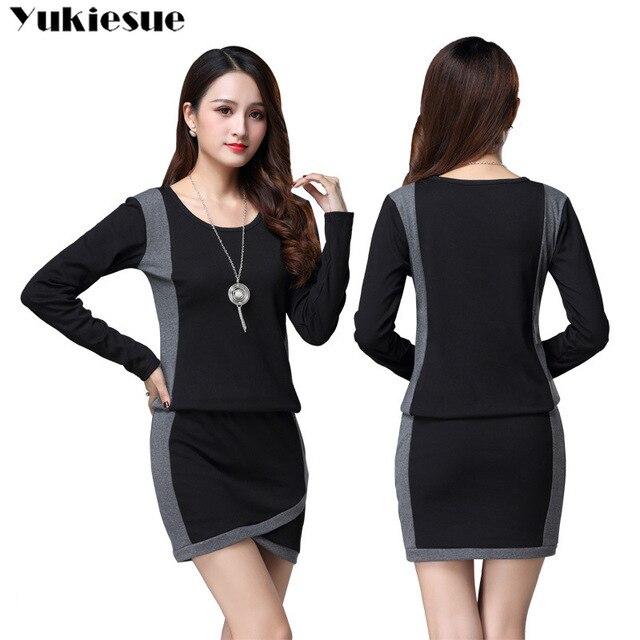 winter office OL dresses for women skinny women's dress long sleeve black maxi party long sexy bodycon dress female Plus size 4