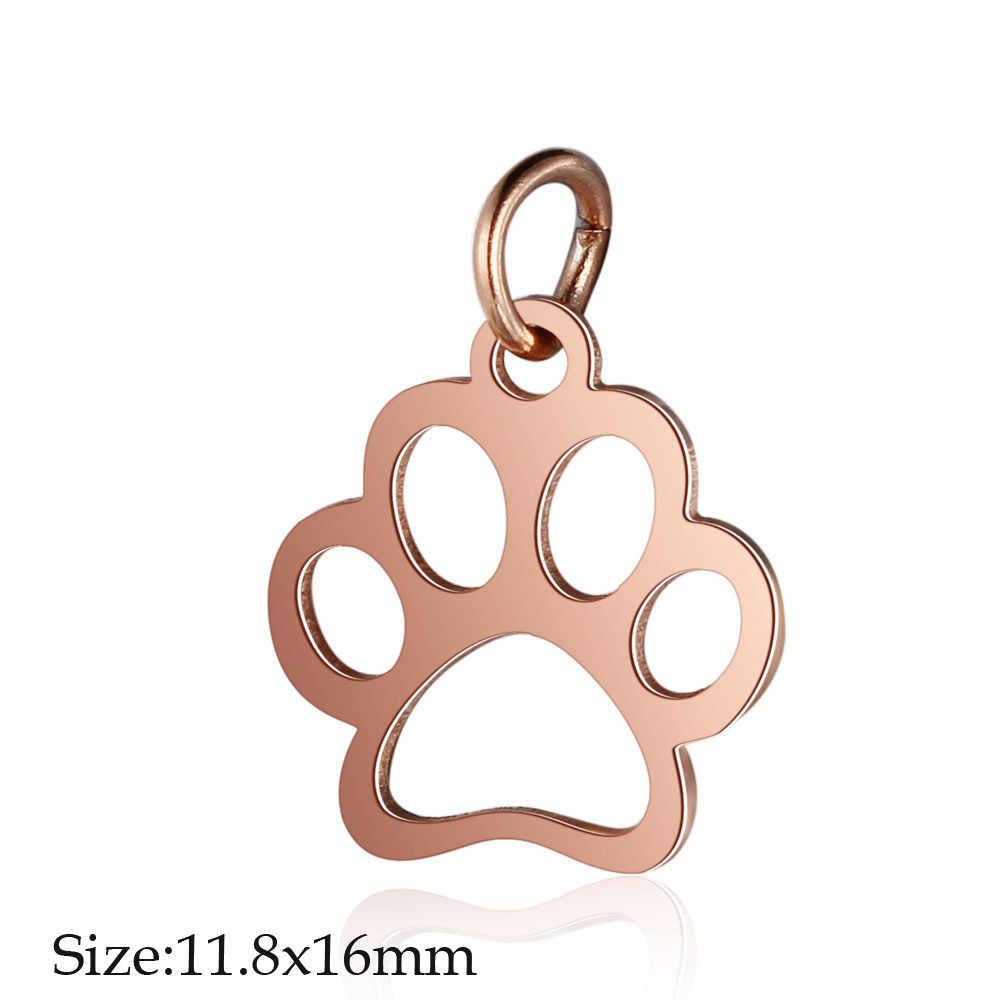 5 adet/grup paslanmaz çelik gül altın sinek kuşu diy takı yapımı Charm toptan köpek kedi Paw kolye kolye Om Yoga takılar