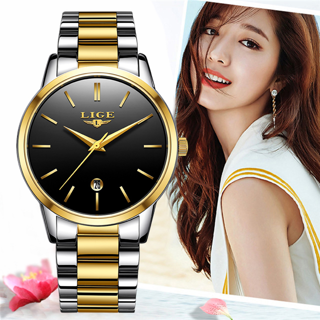 LIGE 2020 새로운 패션 골드 시계 여성 시계 숙녀 크리 에이 티브 스틸 여성용 팔찌 시계 여성 선물 시계 Relogio Feminino