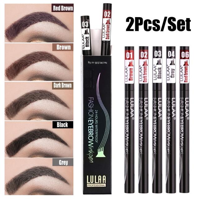 LULAA 6 Color Liquid Eyebrow Enhancer Eyebrow Tattoo Pen Sketch Waterproof Eyebrow Pencil 4 Head Long-lasting Eye Makeup 5