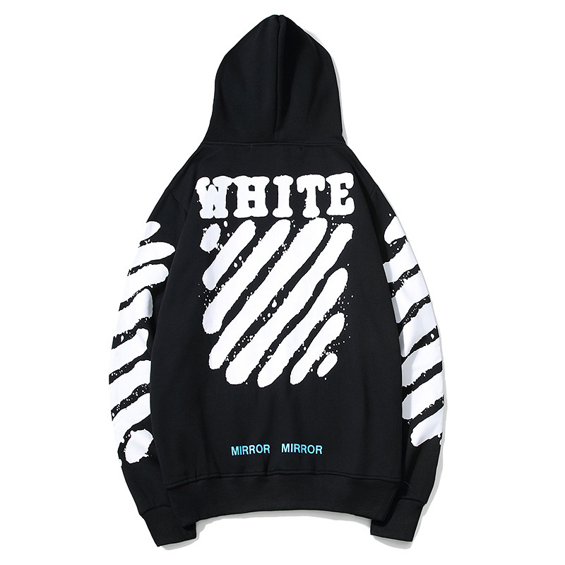 2018 Autumn And Winter Ink Paint Speed Bump Cool Hooded Plus Velvet Hoodie Men And Women Couples Tiger Pattern Sticker Coat