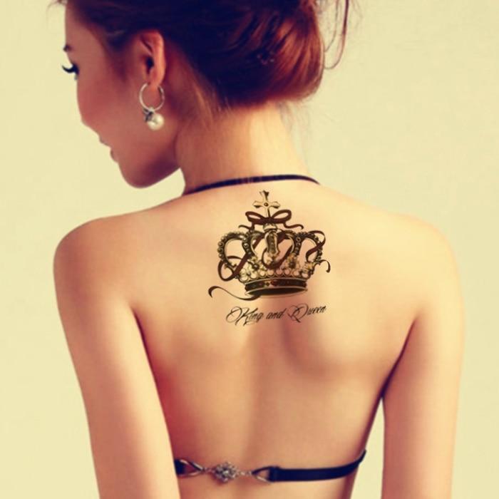 Waterproof Temporary Tattoo Sticker On Body Back Big Crown Tatto Stickers Flash Tatoo Fake Tattoos For Women Girl
