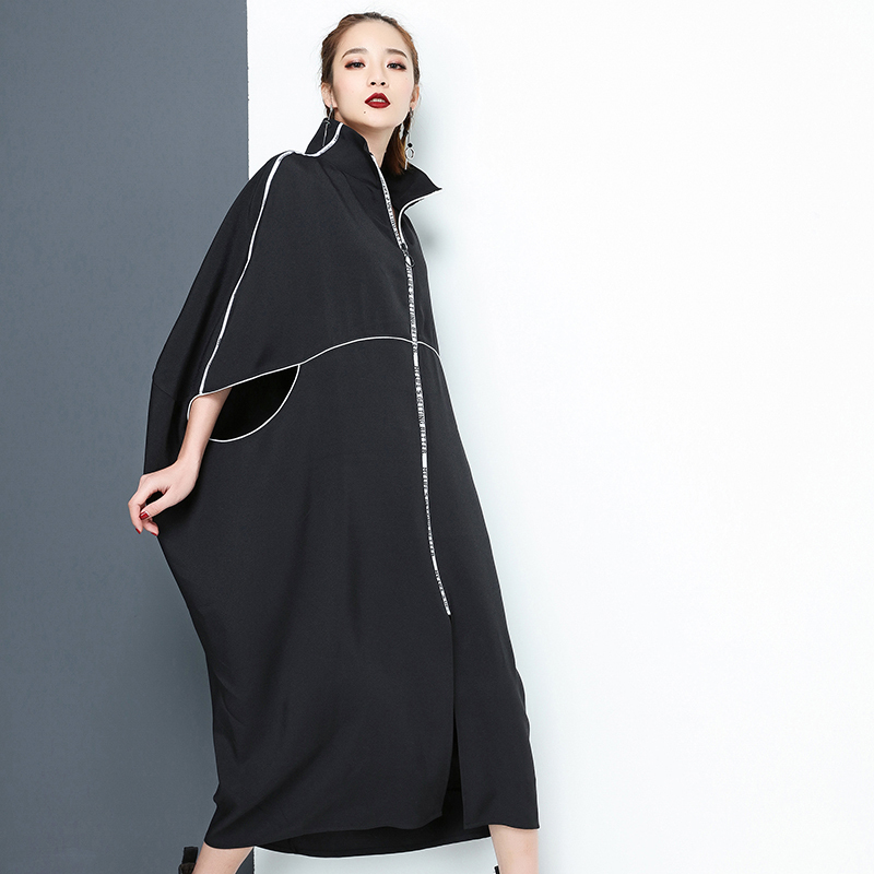 New Fashion Nova Letter Zipper Irregular Big Size Solid Dress Fashion Nova Clothing