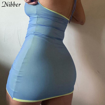 Nibber Solid Color Drawstring Women Party Dress Strap Sleeveless Halter Bodycon Club Fashion Skinny 2021Summer Sexy Mini Dresses 2