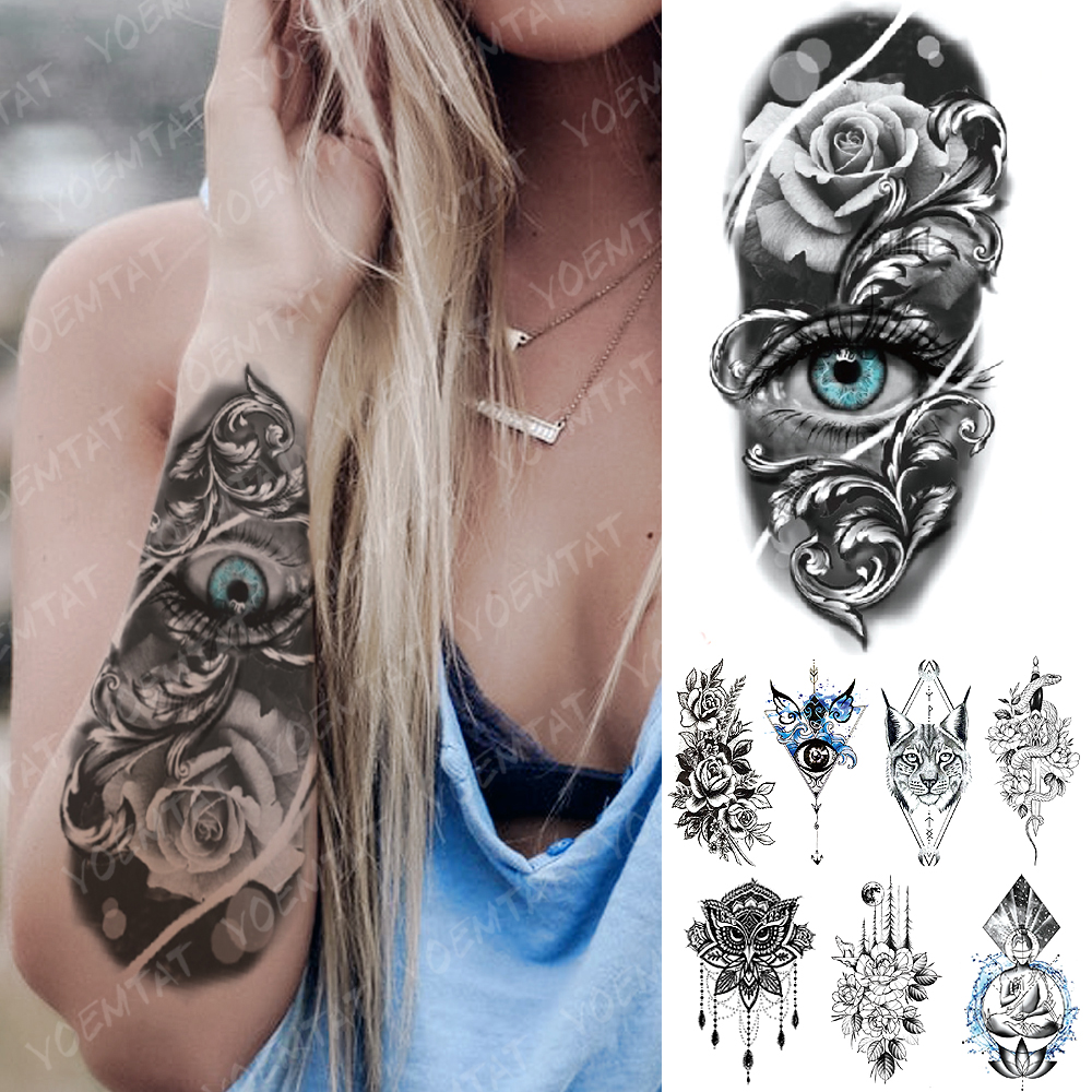Waterproof Temporary Tattoo Sticker Blue Eyes Rose Snake Cat Sword Flash Tatto Buddha Mandala Body Art Arm Fake Tatoo Women Men