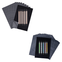 Graphite-Paper with 5pcs Styluses Carbon-Transfer 200-Sheets Black