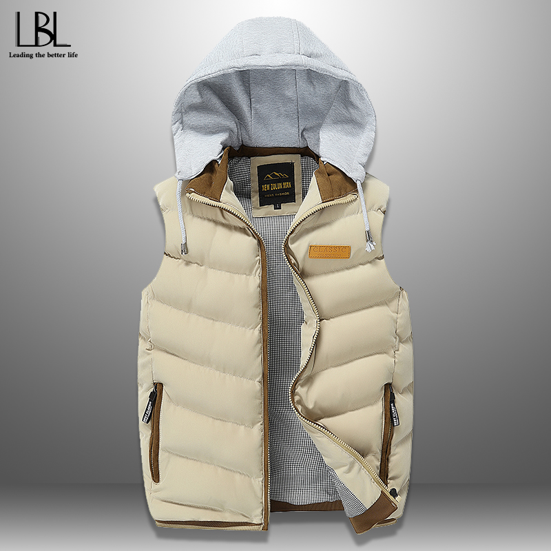 New Men Stylish Vest Autumn Winter Down Vest Casual Mens Sleeveless Jacket Warm Waistcoat Streetwear Men Top Men's Hooded Vests