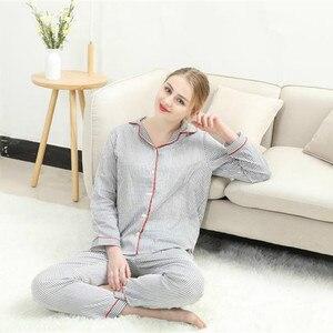 Image 5 - Sleepwear Womens Cotton Home Suit Pajamas Winter Long Sleeve Stripe Pyjama Female Casual Lounge Set Dropshipping