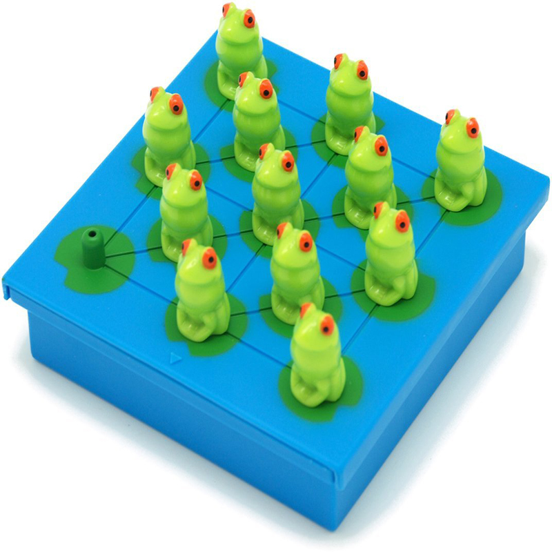 Plastic Toy Cartoon Animal Peg Solitaire Frog Jumping Game Intelligence Checkers Funny Chess Best Birthday Gift Set