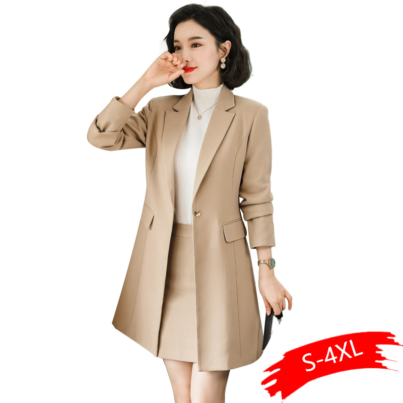 2020 New Fall Winter Women Long Blazer Elegant Long Sleeve Formal Tops Green Red Yellow Apricot Blue Coat