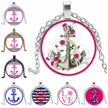 Hot! 2019 Personality Rose Cable Anchor Pendant Glass Convex Fashion Sweater Chain Statement Necklace Jewelry
