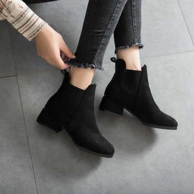 Kışlık botlar kadınlar 2018 siyah yarım çizmeler kadınlar için kalın topuk bayanlar üzerinde kayma ayakkabı botları Bota Feminina