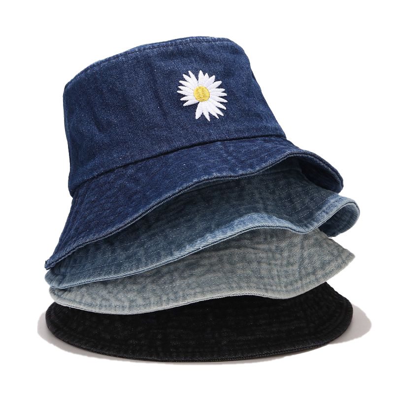 Washed Denim Butterfly Embroidery Fisherman Hat Korean Sun Proof sun Vsor Women Casual Hat Fashion Japanese Big Brime Outdoor
