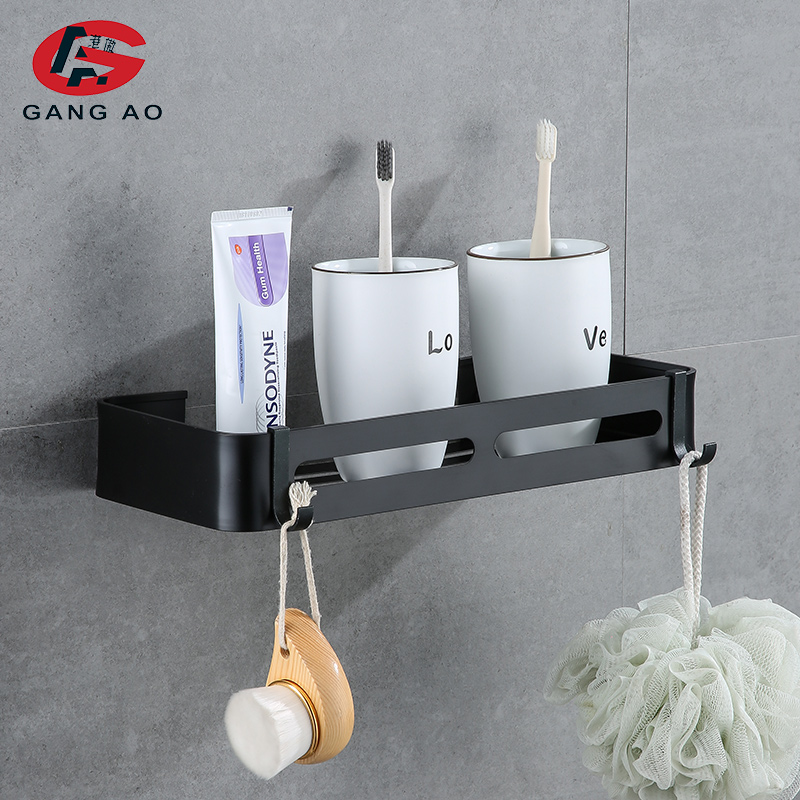 Black Bathroom Wall Shelf Robe Hook Kitchen Towel Bar Shower Basket Storage Rack
