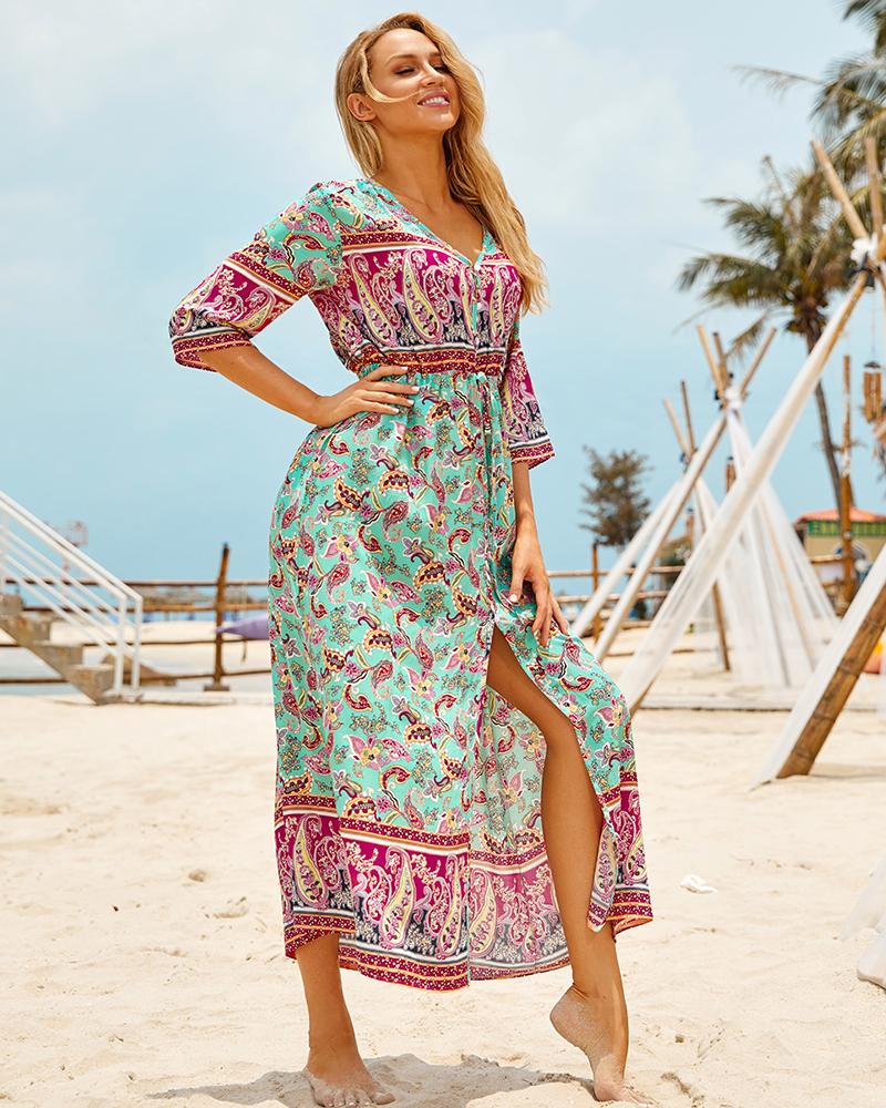 H4c152d67b47c4d67b2dcb9aa8c3edf78r - Sexy Bikini Cover ups Cotton Tunic Boho Printed Summer Beach Dress Elegant Women Plus Size