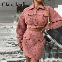 Glamaker Rosa warme Gefälschte pelz röcke sets Woemn Teddy mantel jacke und A-linie rock Elegante weiche mode Winter neue casual anzüge