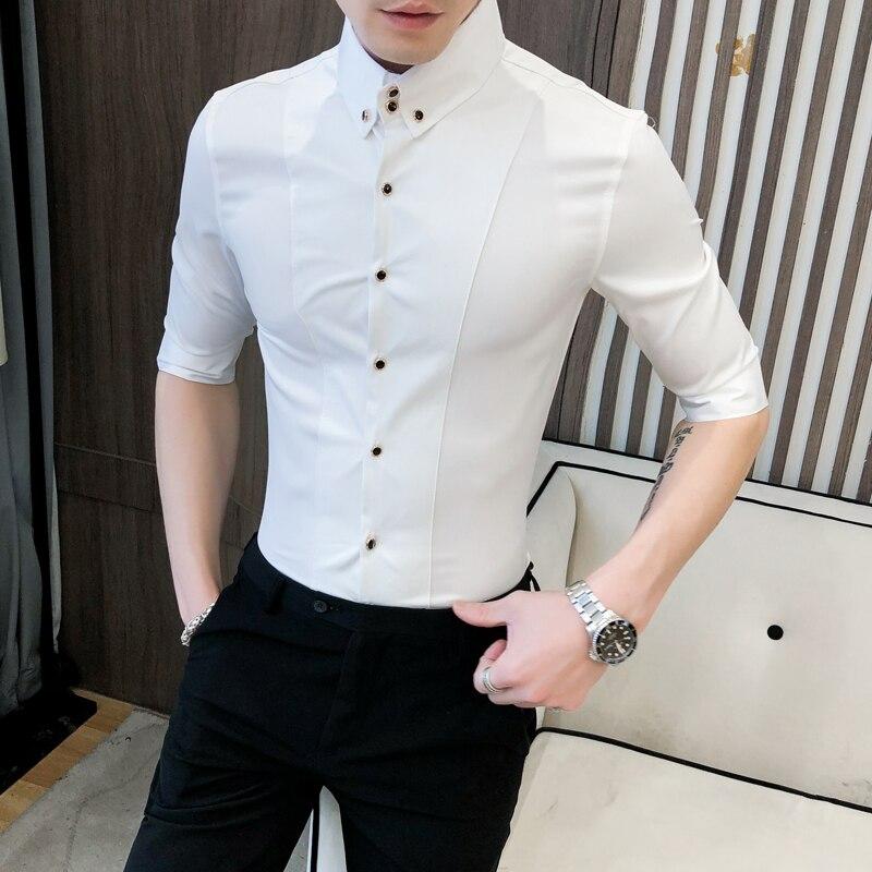 High Quality Summer Men Shirt Half Sleeve Fashion Streetwear 2020 Slim Fit Mens Casual Shirts Night Club Prom Tuxedo Shirt Dress