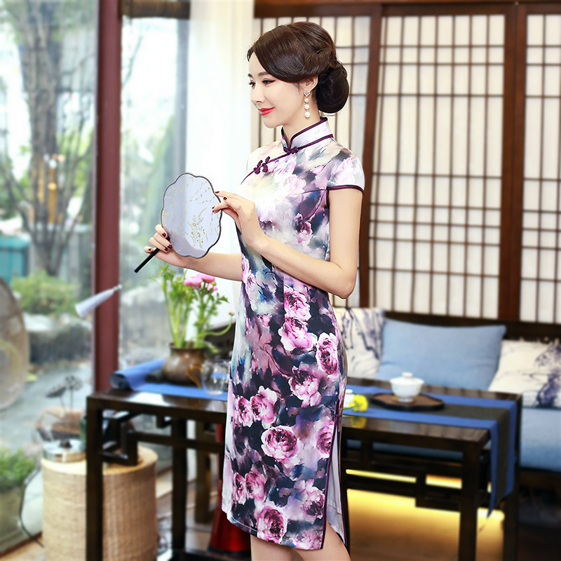 Sheng Coco Plus Size 3xl 4xl Ladies Traditional Chinese Style Qipao Double-deck Cheongsam Purple Flower Print Novelty Dresses