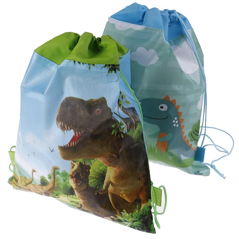12PCS Cute Dinosaur Theme Bag Cartoon Non-woven Fabric Baby Shower Drawstring Gifts Bags Birthday Party Mochila Boys Favors