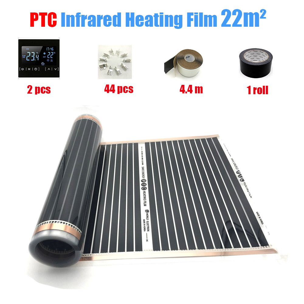 22M2 PTC Infrared Carbon Heating Foil Mat for Underfloor Tiles Wood Linoleum Laminate Heating with Installation Clips DuabFloor Heating Systems & Parts   -